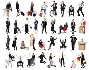 Collage of active people